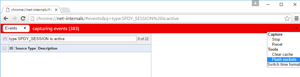 Chrome net internals SPDY session page