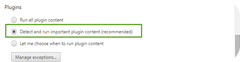 Chrome with detect and run important plugin contet recommended setting enabled automatically