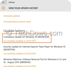 KB3081438 update installed