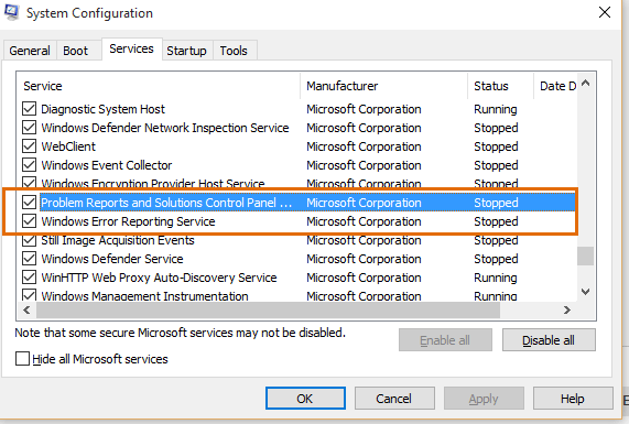System Configuration Services tab Windows 10