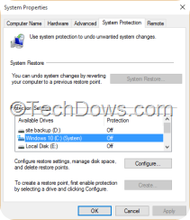 System Protection Windows 10 drive