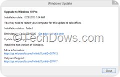 Upgrade to Windows 10 pro installation failed error code 80240020