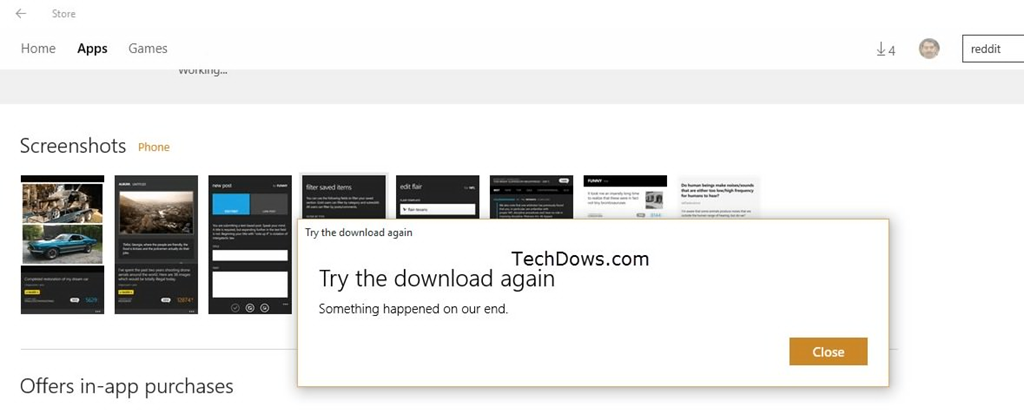 Readit App Download in Windows 1o Store throws 'Try the