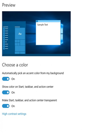 Windows 10 color options  in Personalization