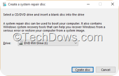creating a system repair disc Windows 10