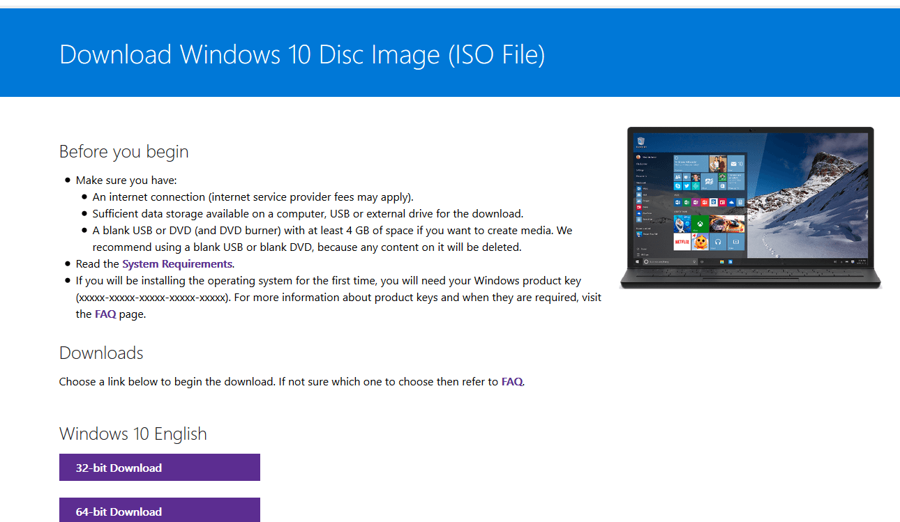 hidden or unknown Windows 10 ISO downlaod page