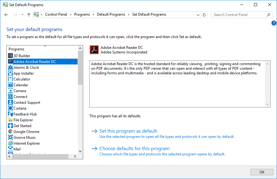 set your default programs PDF Reader Windows 10