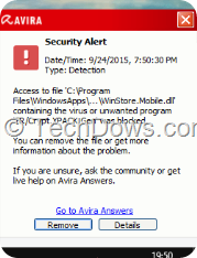 Avira WinStore.Mobile.dll security alert-min