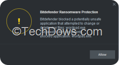 BD RS Protection application blocked