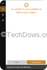 Windows 10 Cortana not available for my region