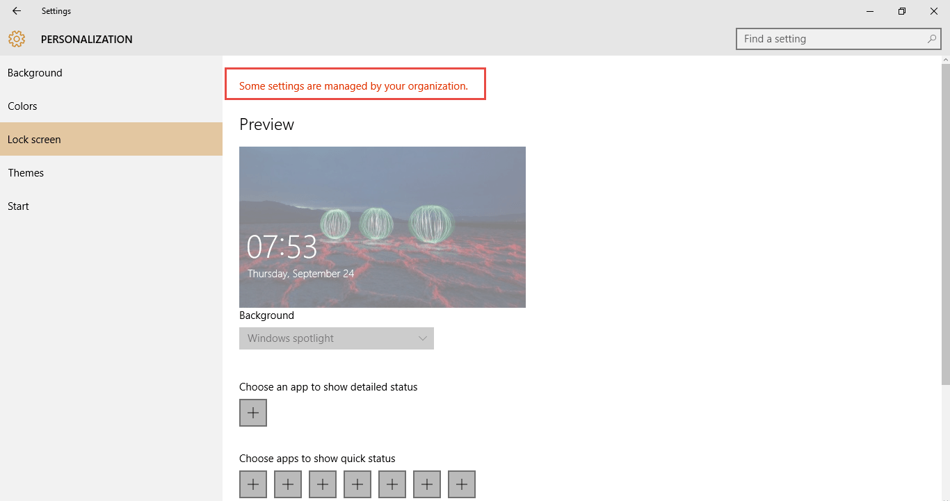 Fix Windows 10 Lock Screen Settings page shows 'Some