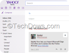 Yahoo Mail compose showing the tweet in your signature