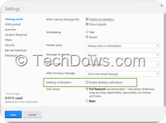 Yahoo mail settings enable desktop notifications option