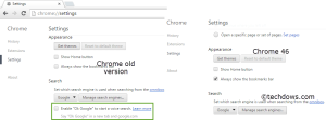 No OK Google option in Chrome 46 settings