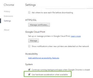 Chrome hardware acceleration Settings