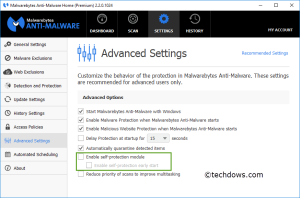 Enable Self-protection module option in Malwarebytes advanced Settings