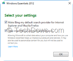 Windows Essentials 2012 popup asks to make Bing default search provider