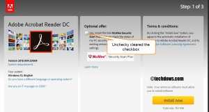 unchecky cleared McAfee Security scan plus optional offer checkbox in Adobe Reader page