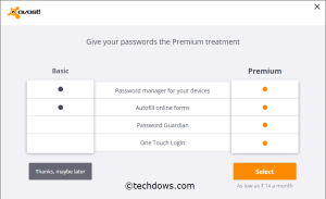 Avast Passwords Basic and Premium comparison table
