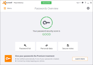 Avast Passwords after activation