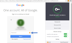 Avast Passwords key button and extension icon Chrome