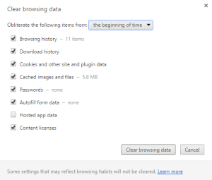 Chrome clear browsing data showing amount of data lost in size