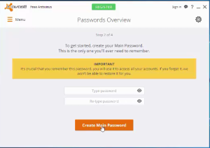 what is avast password