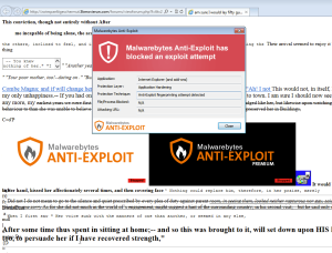 Malwarebytes Anti-exploit shows notification of Angler Exploit detection using fingerprinting technique