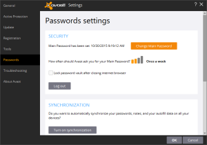 Passwords settings page