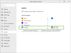 Search Engines list in Vivaldi Search settings
