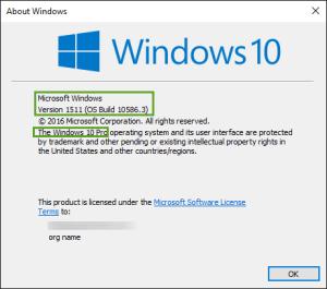 Windows 10 Pro version 1511 build 10586.3