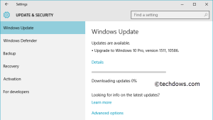 Windows Update downloading Novermber update for Windows 10