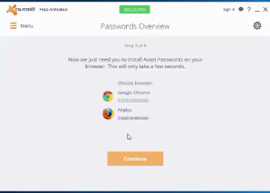 install Avast Passwords browser extensions