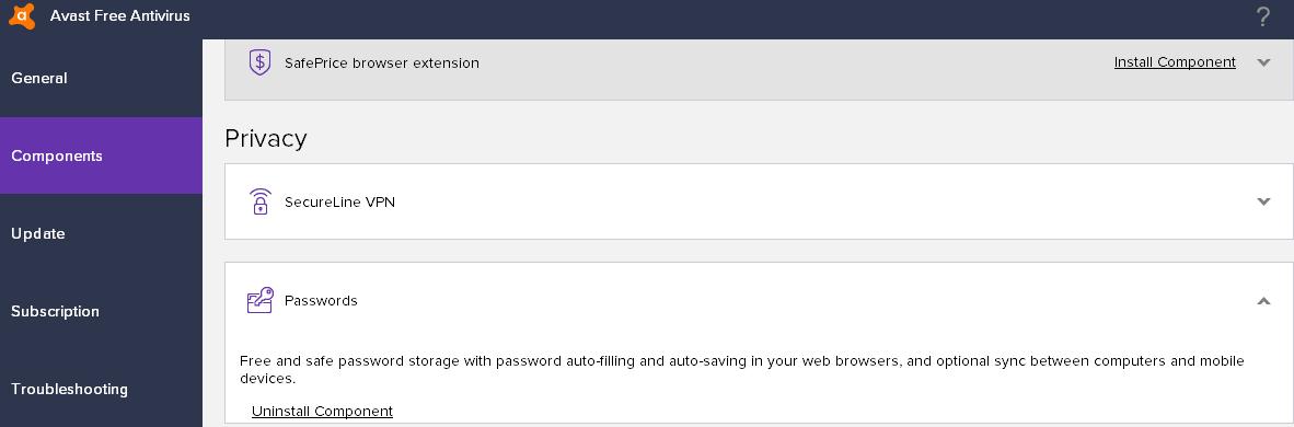 avast settings not saved