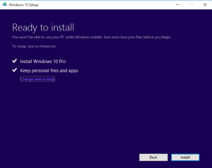verify Windows 10 edition and files and apps are kept in Ready to install dialog