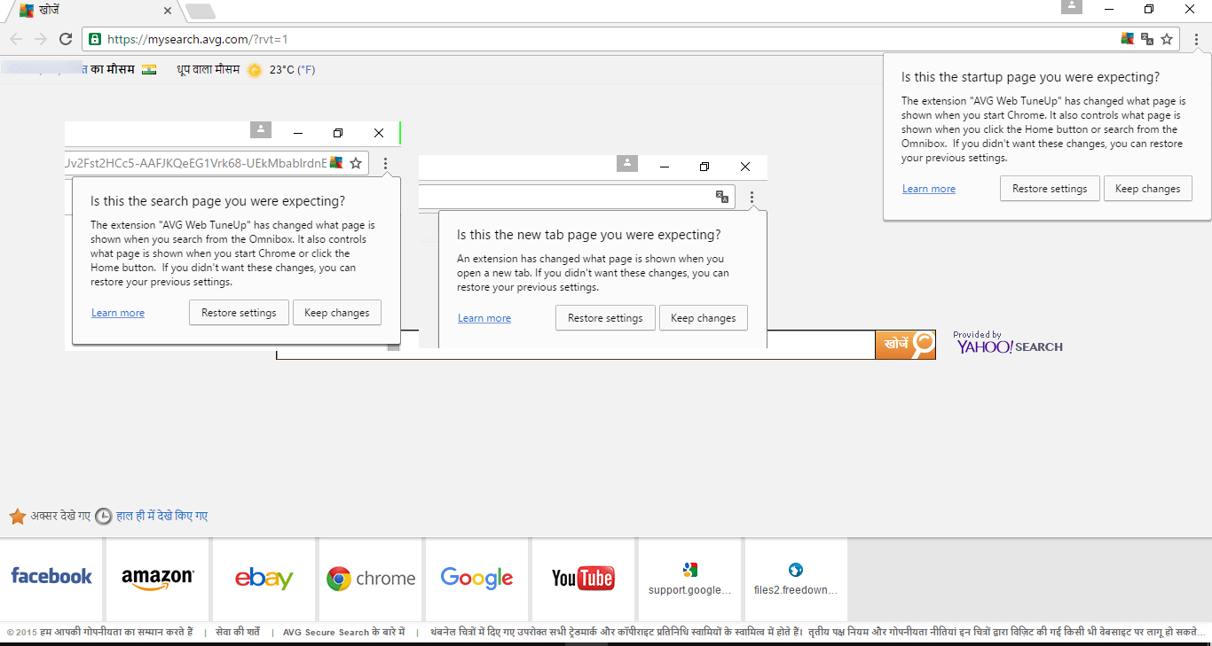AVG Web TuneUp hijacked Chrome new tab page and Chrome alerts user by showing notifications about it