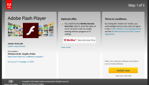 Adobe Flash Player download page Firefox browser