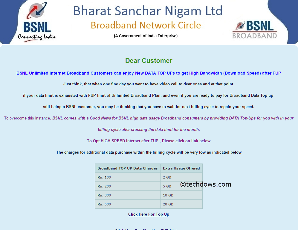 BSNL Broadband top up page