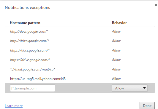 Chrome Notifications Exceptions window
