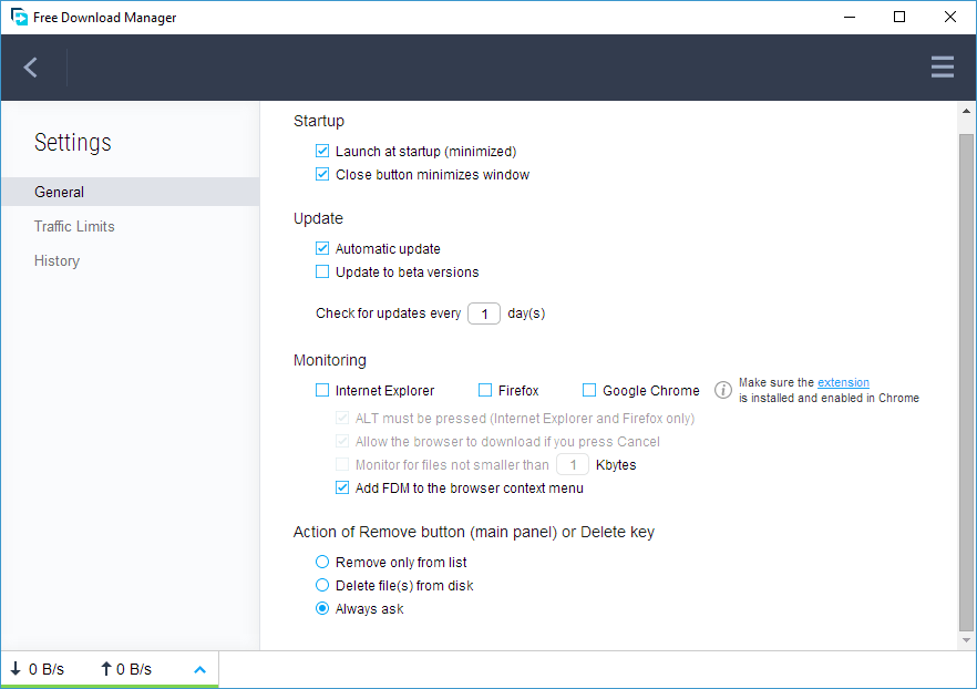 Free Download Manager 5 Settings General Monitoring
