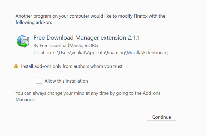 Friefox Free Download Manager extension pop up