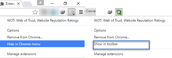 Chrome 48 now lets you hide extension icons in menu or show
