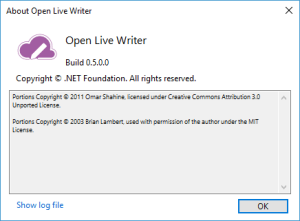 Open Live Writer icon and about dialog window