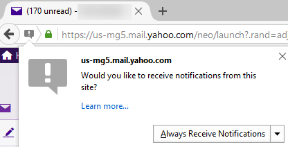 Yahoo mail site asking user to receive notifications in Firefox 44