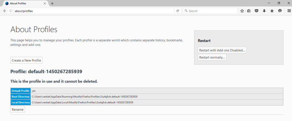 Firefox's new about:profiles page replaces Profile Manager