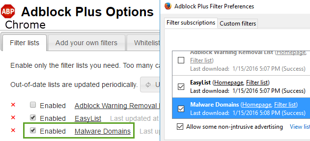 Adblock Plus filter preferences Firefox Chrome