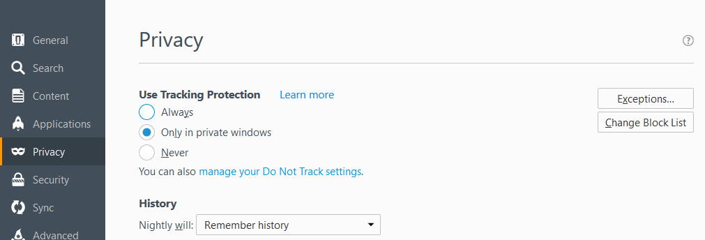 Always or never options for using tracking Protection in Firefox
