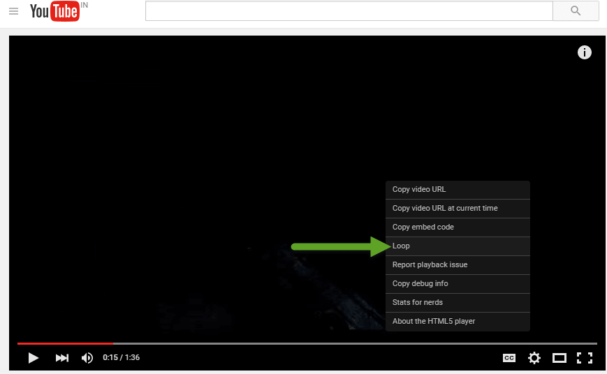 video playing in YouTube from now on shows loop option when you right click on it