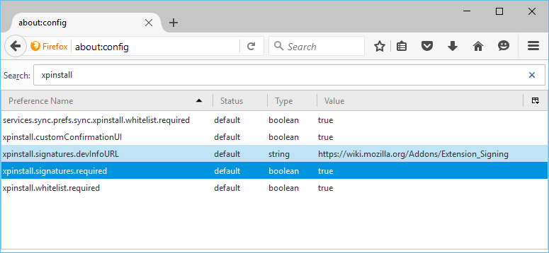 xpinstall signature required preference present in Firefox 44