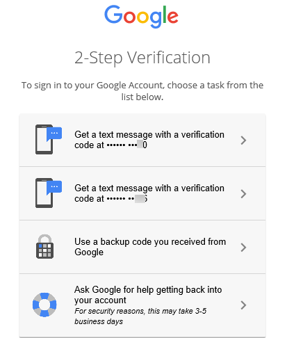 Google 2-step verification sign-in options apart from entering verification code